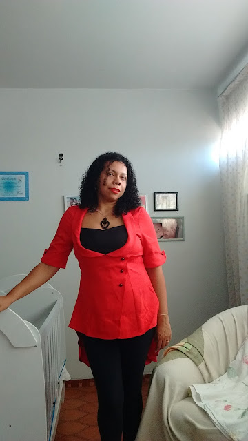 Recebidos Loja Dresslily blusa vermelha detalhes