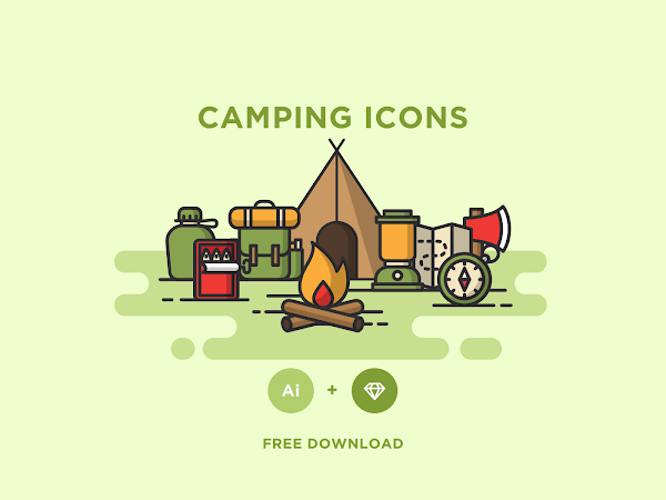 Download Vector Camping Icons Set Free
