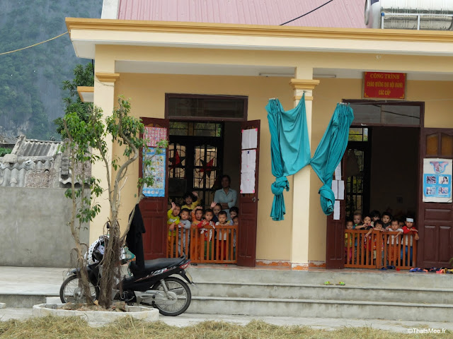 reserve van long ninh binh vietnam campagne baie halong terrestre bateau barqe bambou sampan, ecole enfants