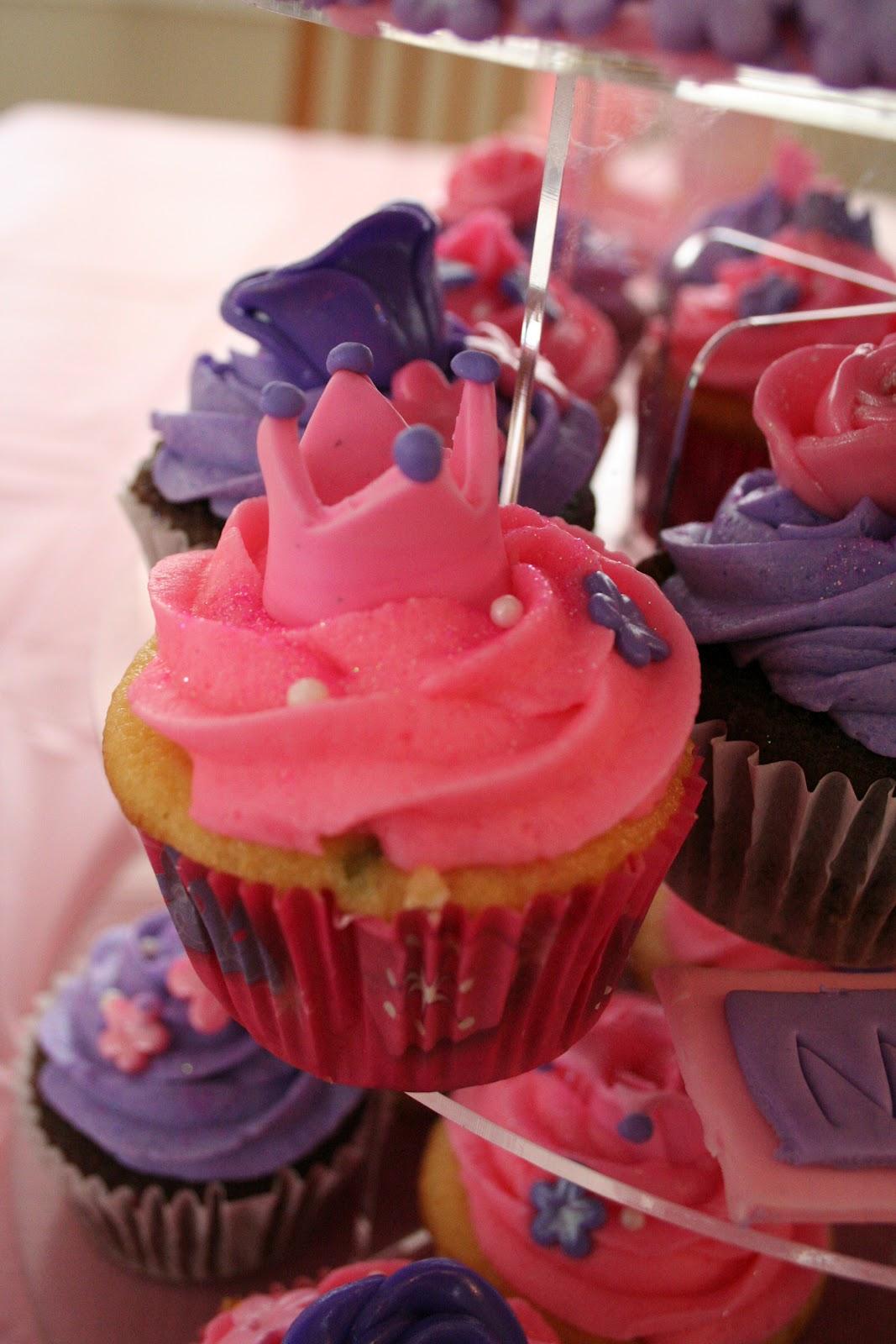 Pink Frosting Bakery Princess Cupcake Tower