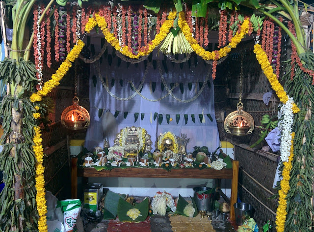 Bhuta Kola Ritual Site with Bhandaara of Daiva kept on the altar