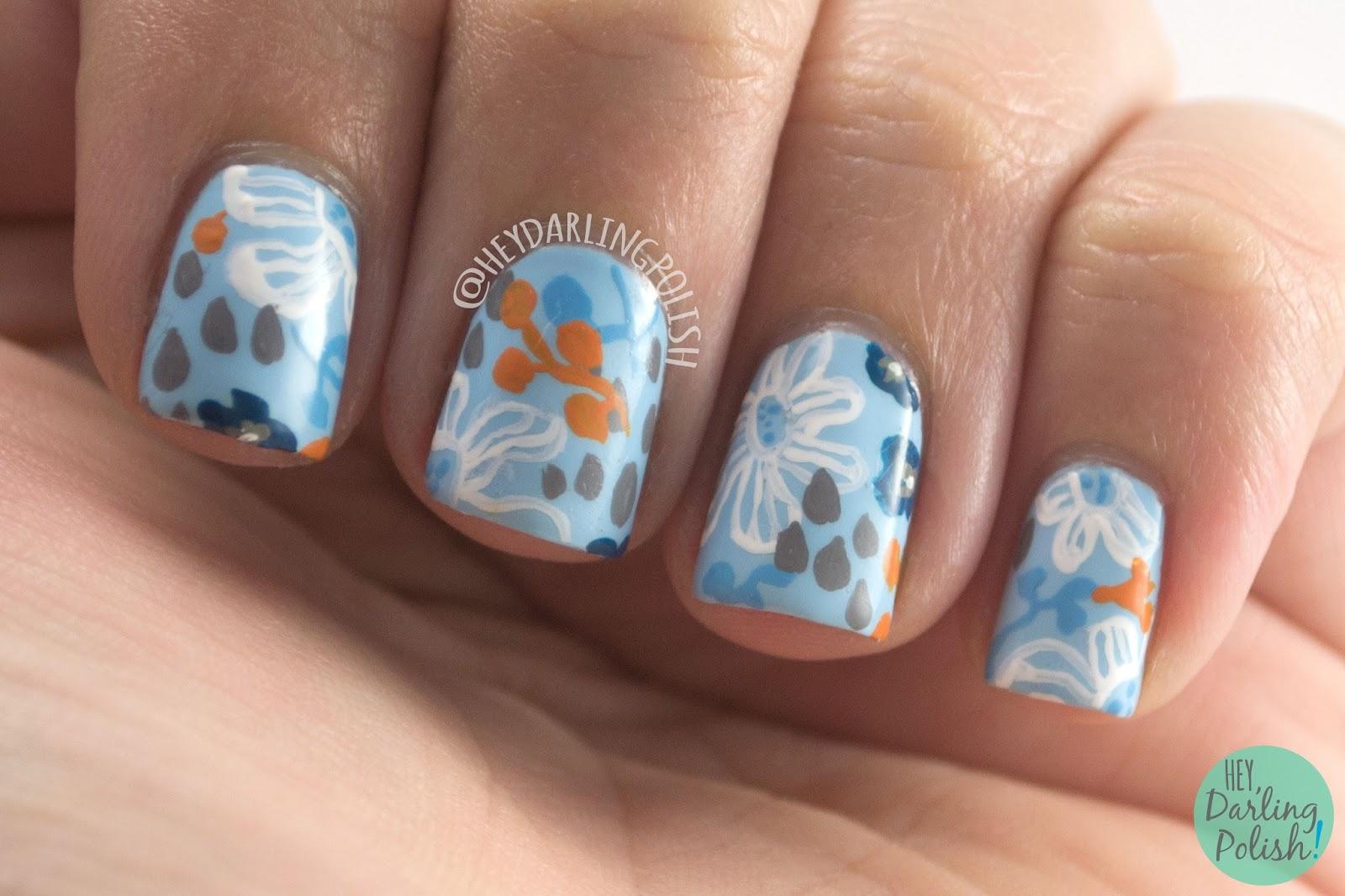 nails, nail art, nail polish, freehand, guest post, hey darling polish, pattern, floral, blue