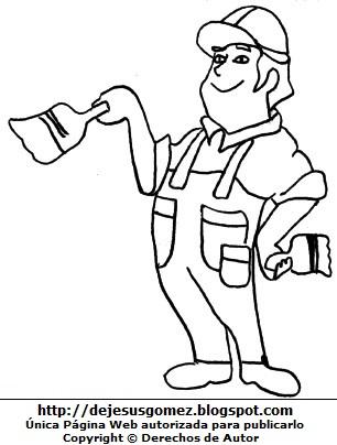 Hombre trabajando como pintor para colorear o pintar (Hombre con brocha de pintura). Dibujo de hombre de Jesus Gómez.