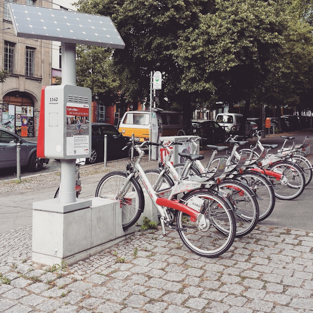 Solar-powered bicycle hire station in Prenzlauer Berg, Berlin