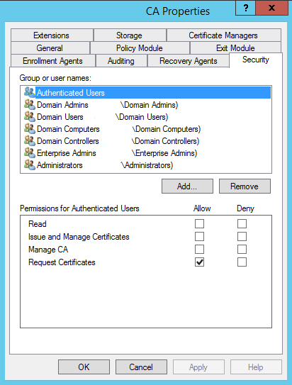 Theres a script for that adcs server 2012 r2 auto enrollment on the ca server itself the certsrv directory in cwindowssystem32 should have read and execute rights for authenticated users and domain users yadclub Images