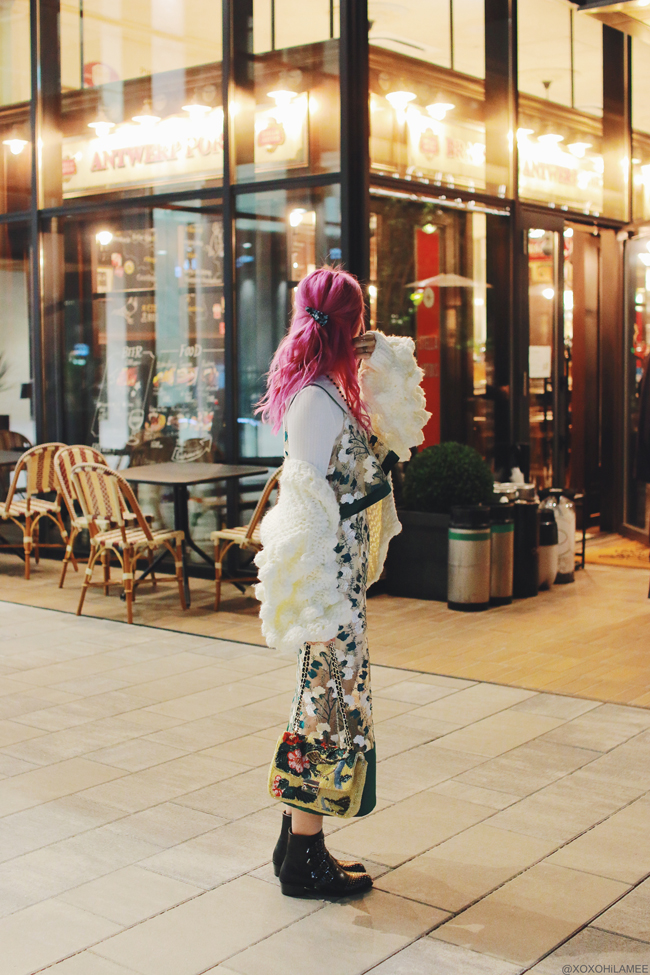 Japanese Fashion Blogger,MizuhoK,20180325OOTD,Chicwish=pompom sleeves cardigan,UNIQLO=mock neck white top,SheIn=embroidery green dress,buckle & studded boots,ZARA=Embroidery beads hand bag,hair clip=3COINS