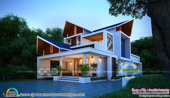2233 sq-ft 3 bedroom sharp sloped roof house