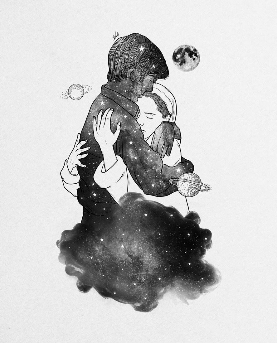 07-These-hugs-transport-me-Muhammed-Salah-Smoky-Surreal-Ghost-Drawings-www-designstack-co
