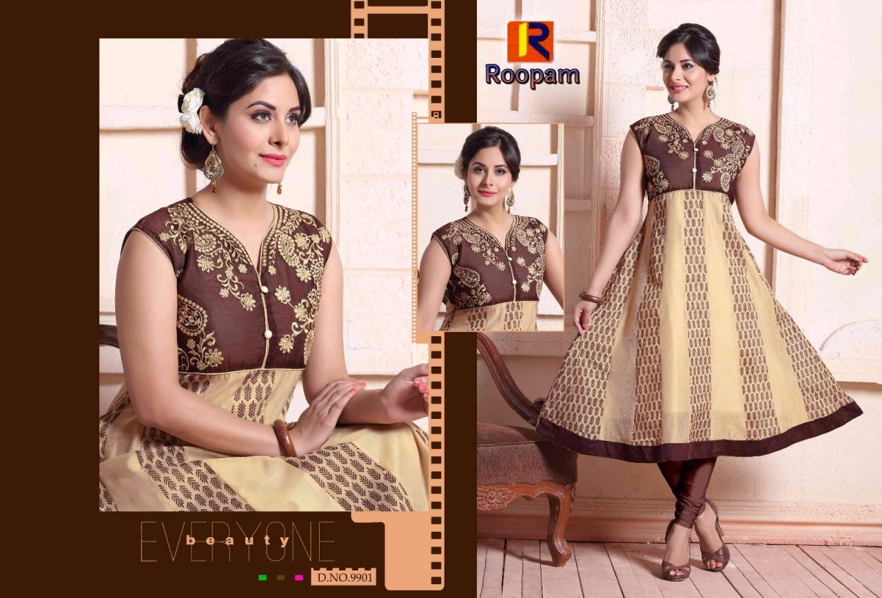 Roopam- Party Wear Designed With Print & Embroidery Long Anarkali Kurties