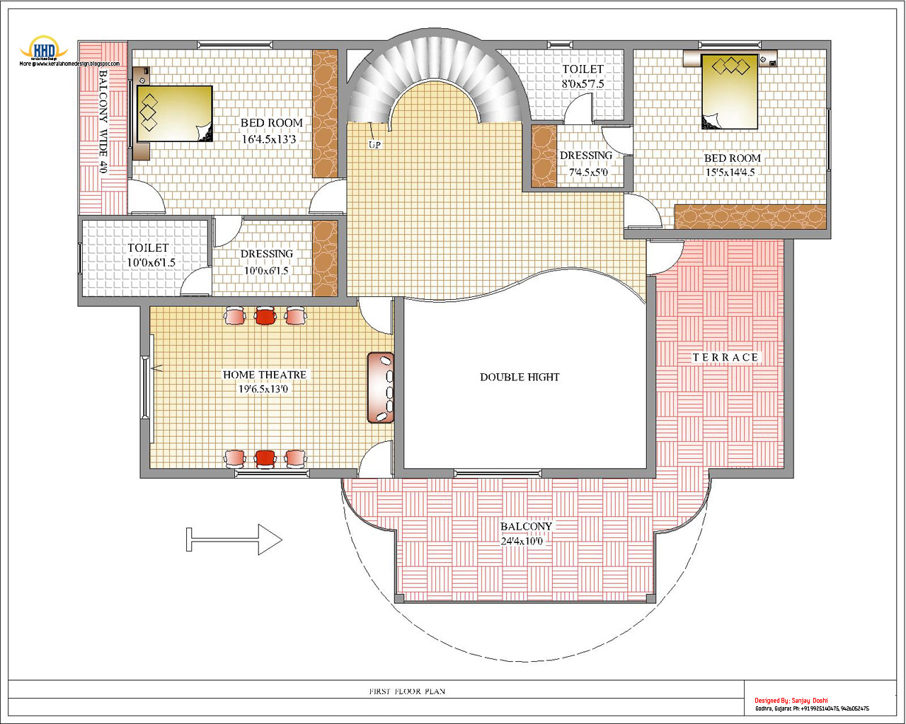 Duplex house plan and elevation 4217 sq ft kerala for Duplex floor plans india