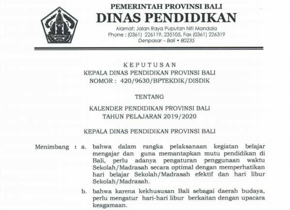 Kalender Pendidikan (Kaldik) Provinsi Bali Tahun 2019/ 2020