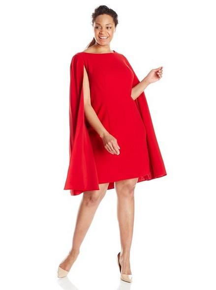 Dress Wanita Gemuk Warna Merah Dengan Cape