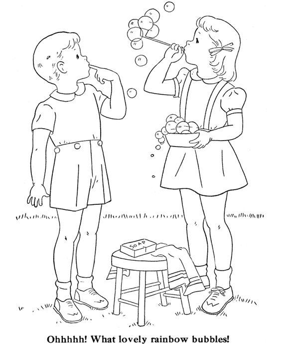 Tranh cho bé tô màu đôi bạn đang chơi thổi bong bóng