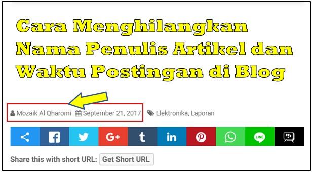Cara Menghilangkan Nama Penulis Artikel dan Waktu Postingan di Blog