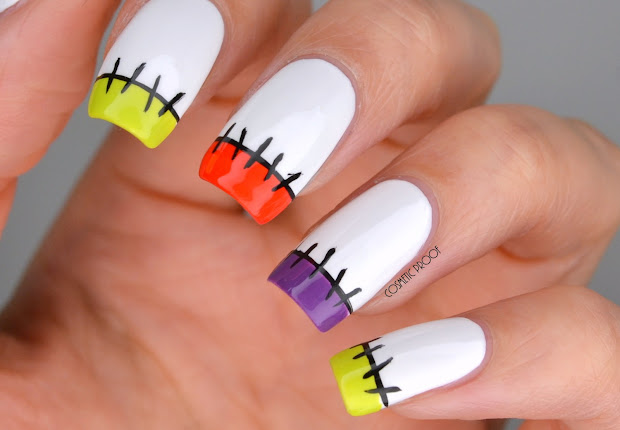 nails halloween stitches french