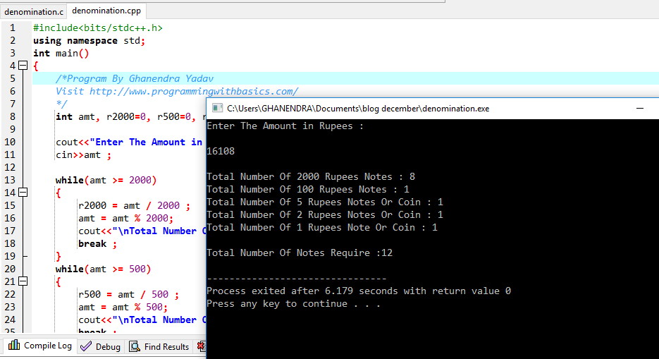 C++ Program For Denomination of an Amount