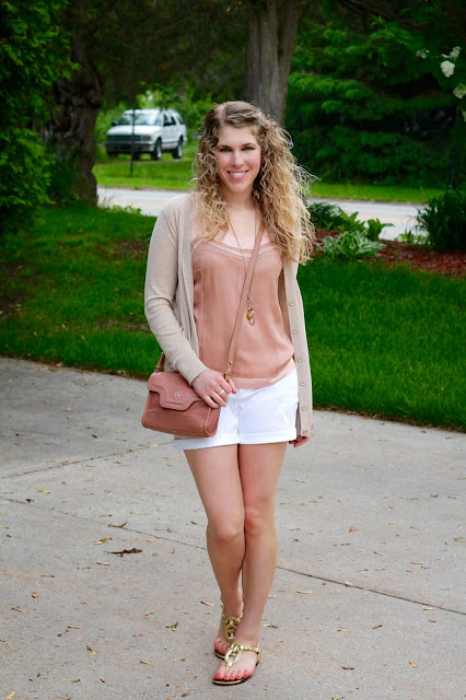 Loft blush tank, camel boyfriend sweater, white shorts, gold rope sandals, blush Cole Haan bag