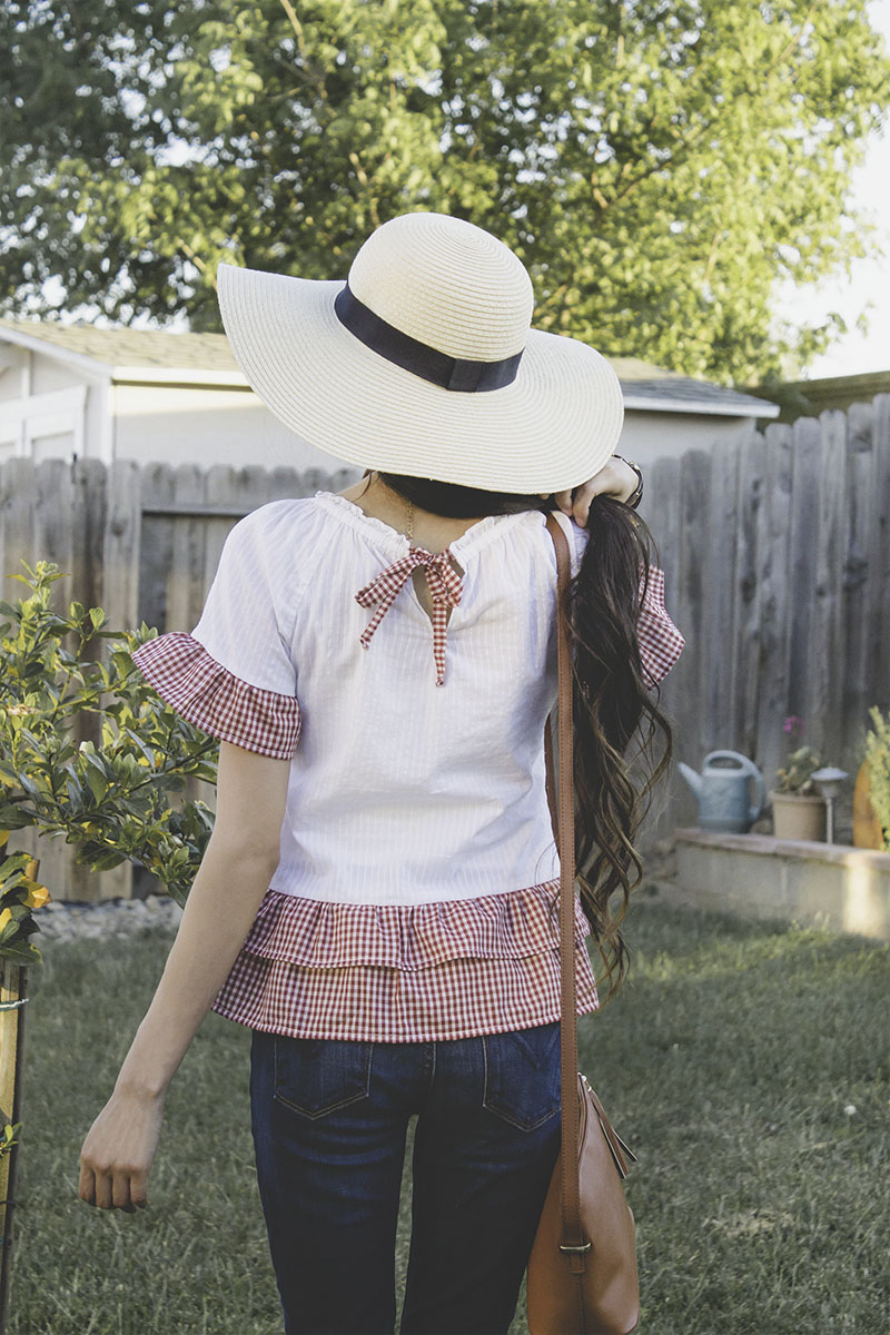ruffle top blouse refashion upcycle gingham