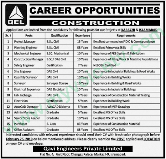 ➨ #Jobs - #Career_Opportunities - Jobs at QEL Constrution – for Karachi and Islamabad – for application visit the link -