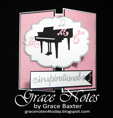 Grand piano birthday gatefold card front, designed by Grace Baxter
