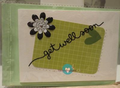 Tarjeta corazón verde get well soon