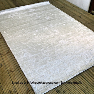 White color bamboo silk rug with luxurious feel and look