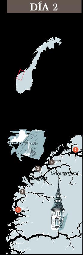 Recorrido dia 2 del trayecto de Hurtigruten. Floro - Molde
