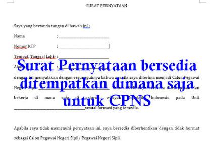 Surat Pernyataan bersedia ditempatkan dimana saja CPNS