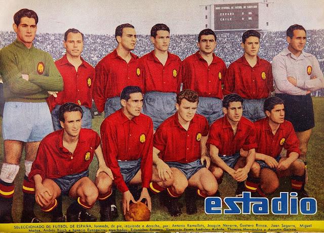 Formación de España ante Chile, amistoso disputado el 12 de julio de 1953