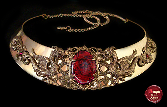 collier dragon medieval fantastique bronze rouge haliotis abalone necklace dragons mythical targaryen daenerys torc jewelry medieval fantasy renaissance