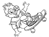 Simon Chipmunks Skateboarding Coloring Pages