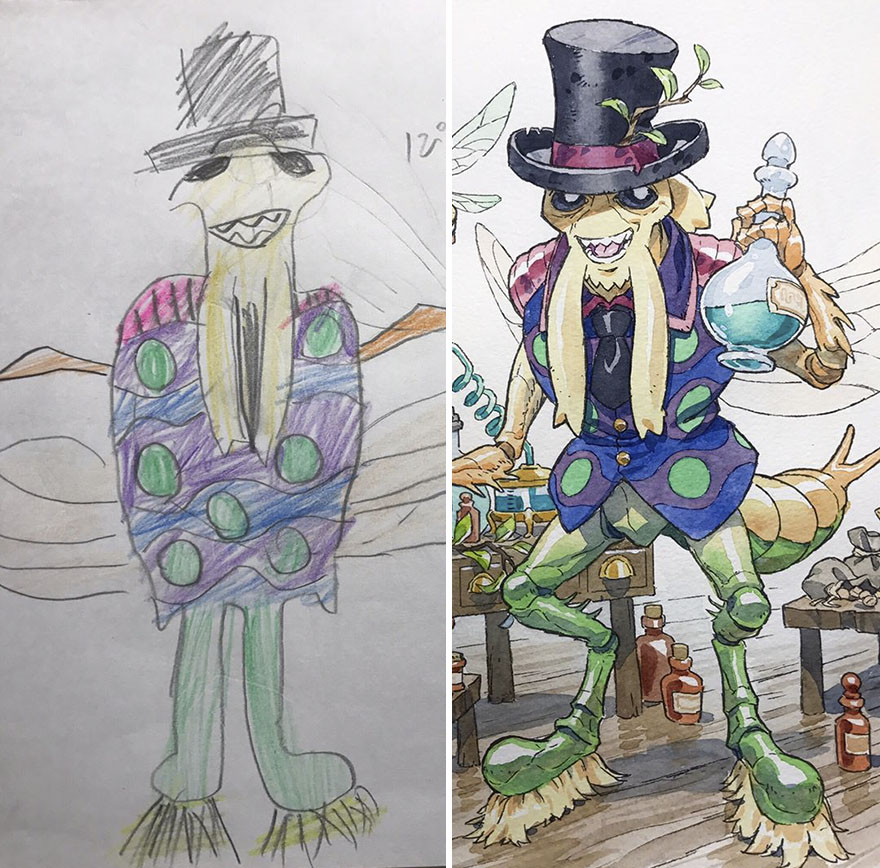 Amazing Father Turns His Son's Drawings Into Anime Cartoon, And The Result Is Spectacular