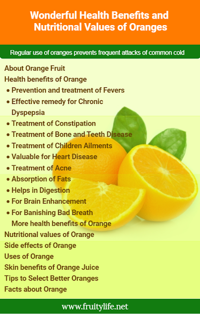 About Orange fruit  Health Benefits of Orange  Prevention and treatment of Fevers  Effective remedy for Chronic Dyspepsia  Treatment of Constipation  Treatment of Bone and Teeth Disease  Treatment of Children Ailments  Valuable for Heart Disease  Treatment of Acne  Absorption of Fats  Helps in Digestion  For Brain Enhancement  For Banishing Bad Breath  More Health benefits of Orange  Nutritional values of Orange  Side effects of Orange  Some simple uses of Orange  Skin benefits of Orange Juice  Tips to Select Better Oranges  9 Interesting facts about Orange
