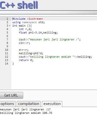 Contoh Program C++ Menghitung Keliling Lingkaran