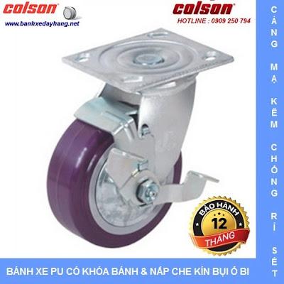 Bánh xe PU Colson có nắp che bụi chịu lực cho xe đẩy vải sợi tại Nhơn Trạch banhxedaycolson.com