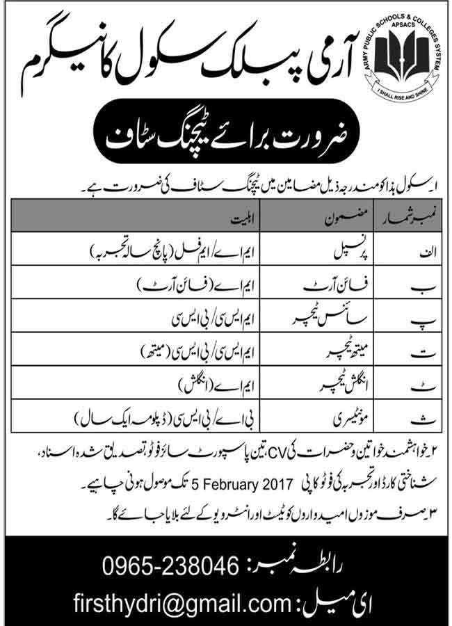 Army Public School Peshawar Teaching Staff Jobs