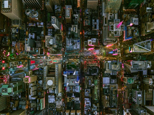 by Jeffrey Milstein - NYC Times Square Bwy and 7th Ave | chidas fotos cool stuff - aerial vision of NYC lights