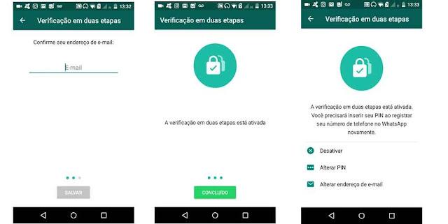 Proteção Verificação em duas etapas Whatsapp