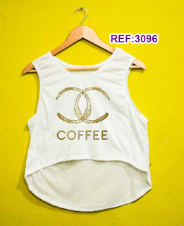 Regata Cropped Tshirt Feminina Atacado coffee