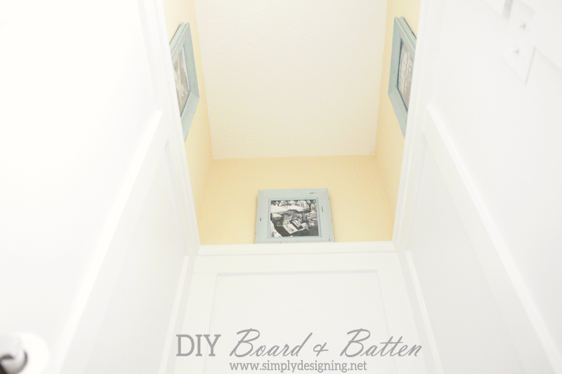 Oh my goodness I love this DIY Board and Batten! | how to do your own board and batten simply WITHOUT replacing your baseboards!  | Definitely need to pin this for later! | #diy #bathroom #remodel #thehomedepot #3MPartner
