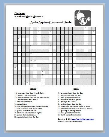 solar system crossword worksheet - photo #30