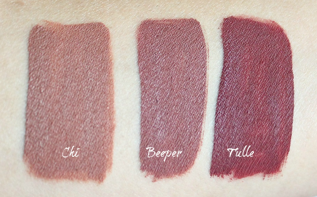colourpop chi, beeper and tulle ultra matte liquid lipstick review and swatch