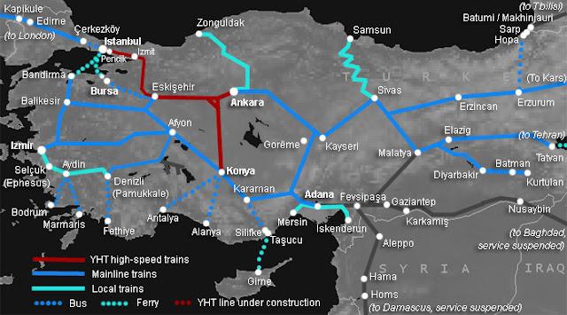 Mapa da linha de trens turca