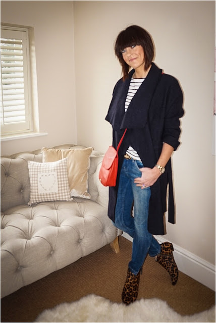 My Midlife Fashion, Zara wool belted coat, h and m breton zipped top, zara skinny jeans, osprey cross body bag, boden joni b leopard print ankle boots