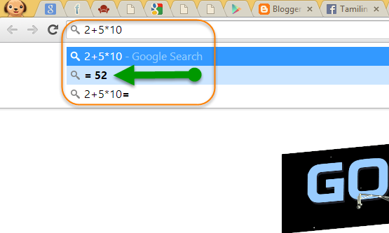 Chrome address bar math