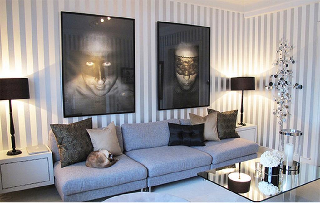 d coration salon moderne avec des murs ray s d cor de. Black Bedroom Furniture Sets. Home Design Ideas