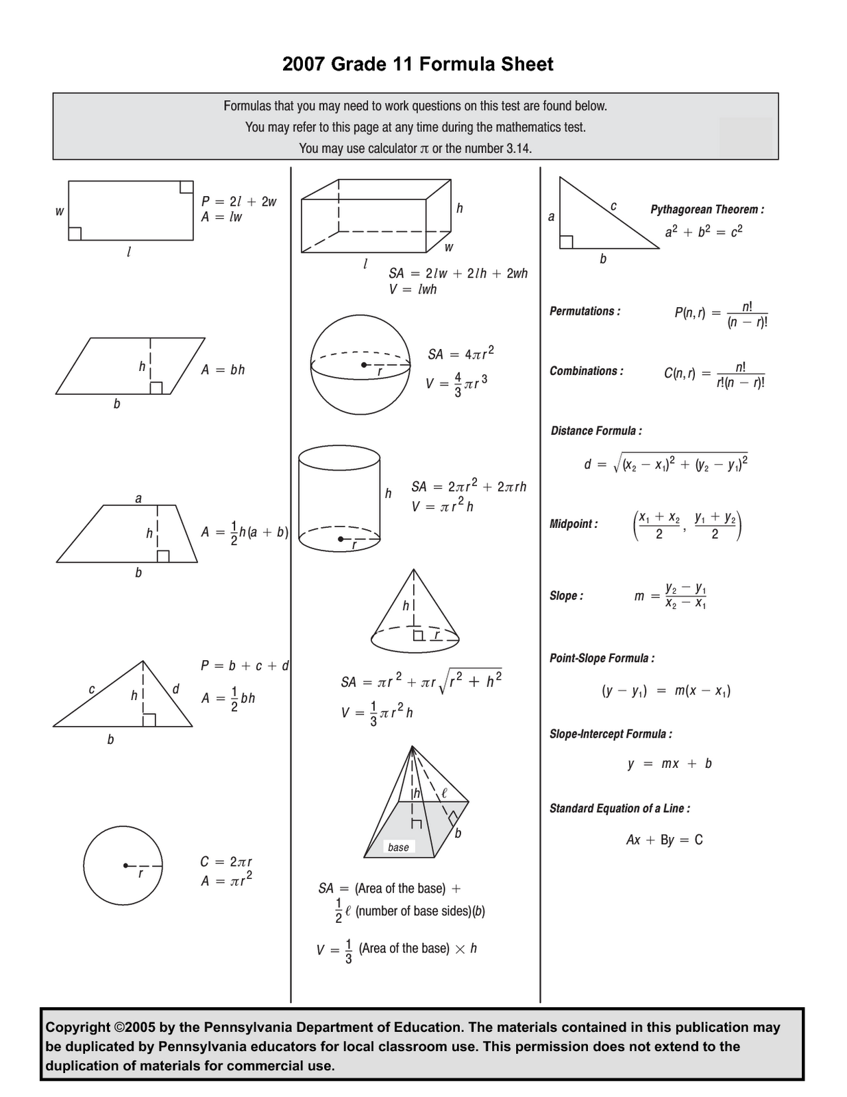 7th Grade Math Formula Chart Staar Review 7th Grade Test