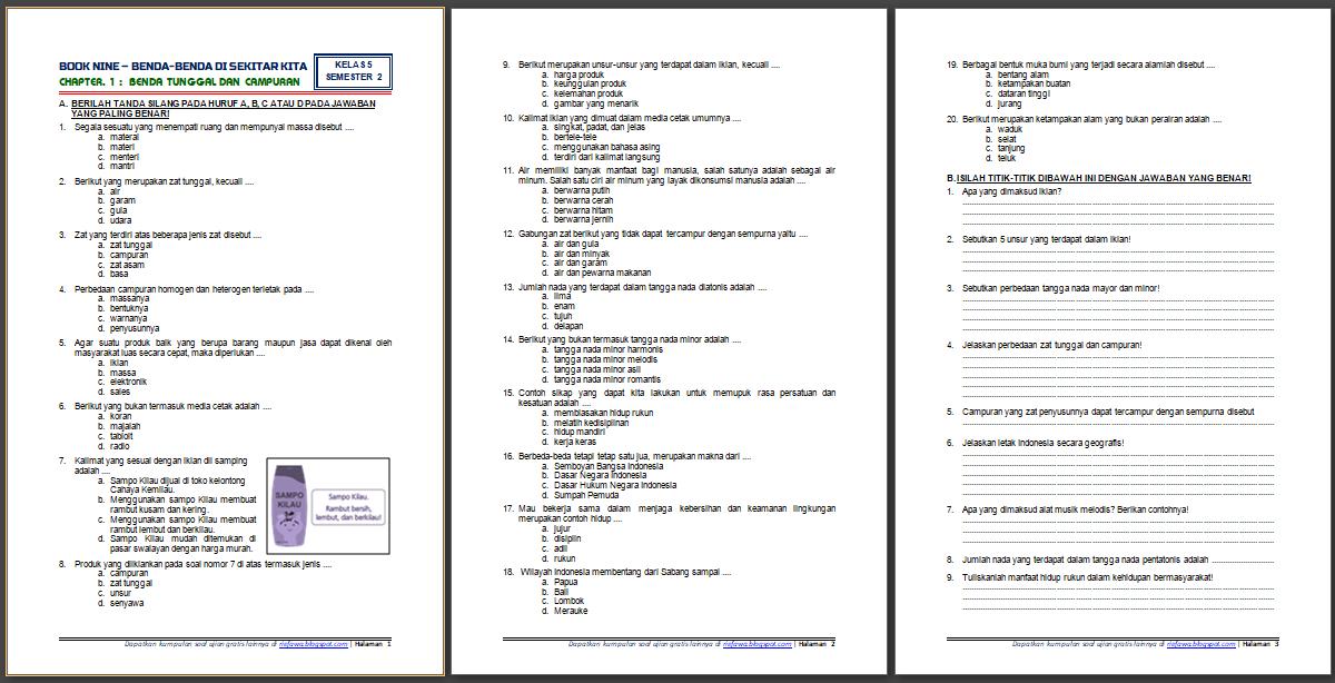 Download Soal Tematik Kelas 5 Semester 2 Tema 9 Subtema 1