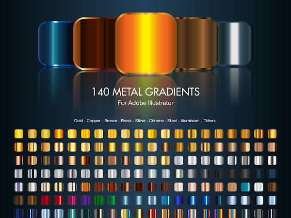 Download 140 Metal Gradients For illustrator Free