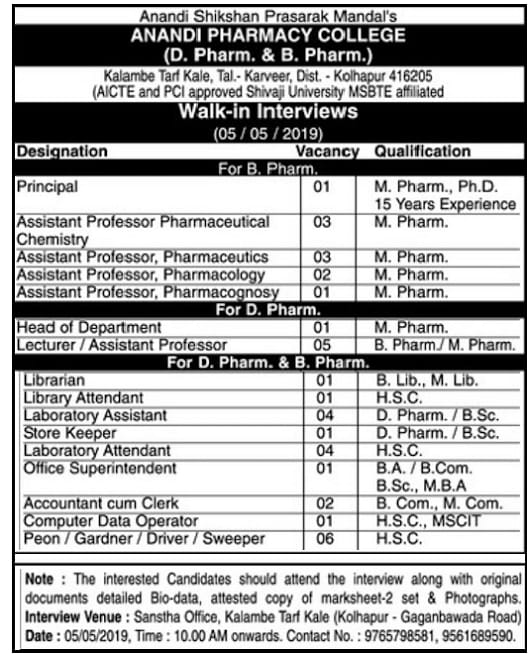 ANANDI pharmacy college walk in intervies  For multiple position on 5th May 2019